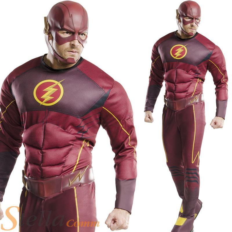 Mens adultos Deluxe flash acolchado Musclechest super héroe vestido de lujo  del equipo del traje 99438c936cd