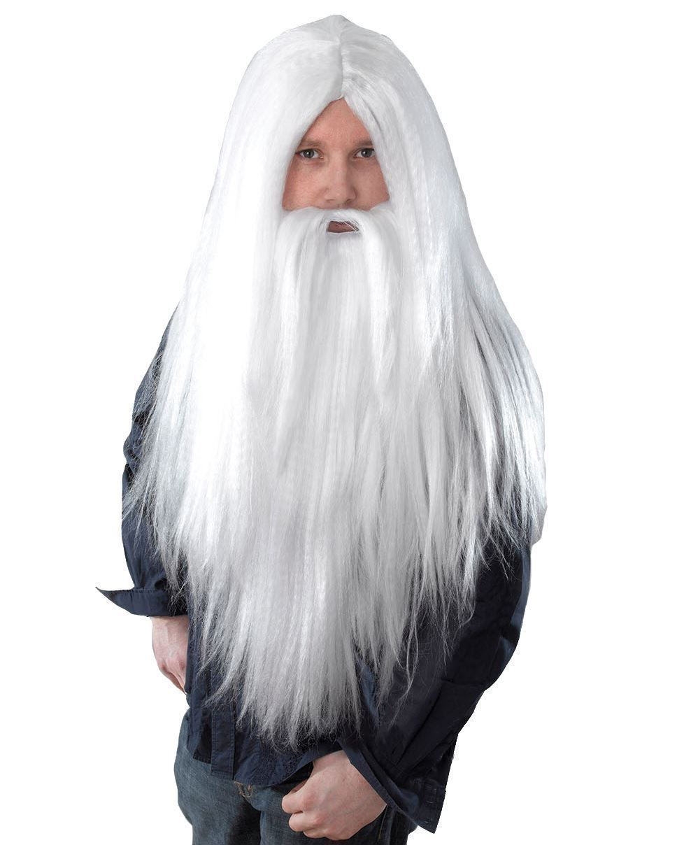 White Wizard Wig /& Beard Outfit Accessory For Fancy Dress Halloween Gandolf Styl