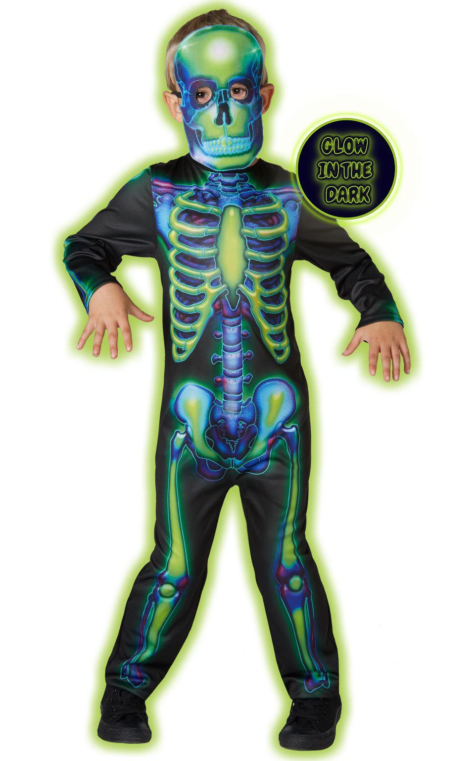 kids neon glow in the dark skeleton costume girls boys halloween
