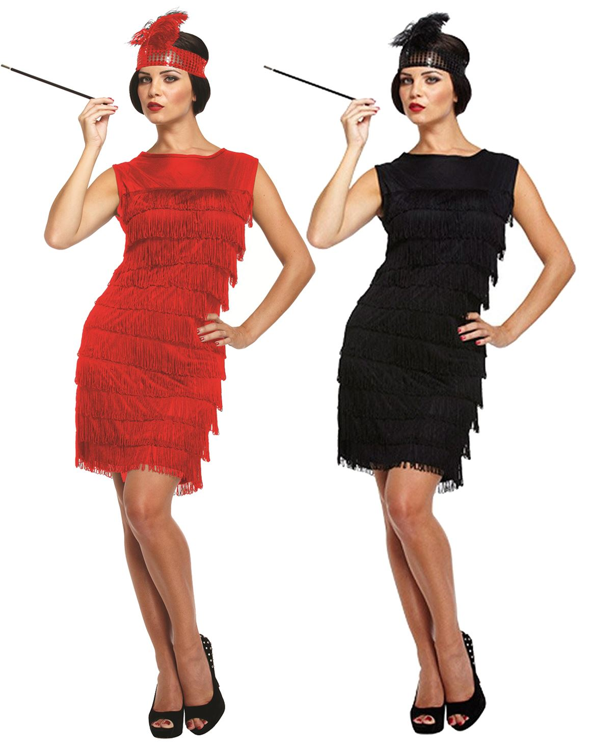 Mujer Negro Rojo Disfraz De Flapper Charleston Anos 20 Gatsby Nina Disfraz Ebay