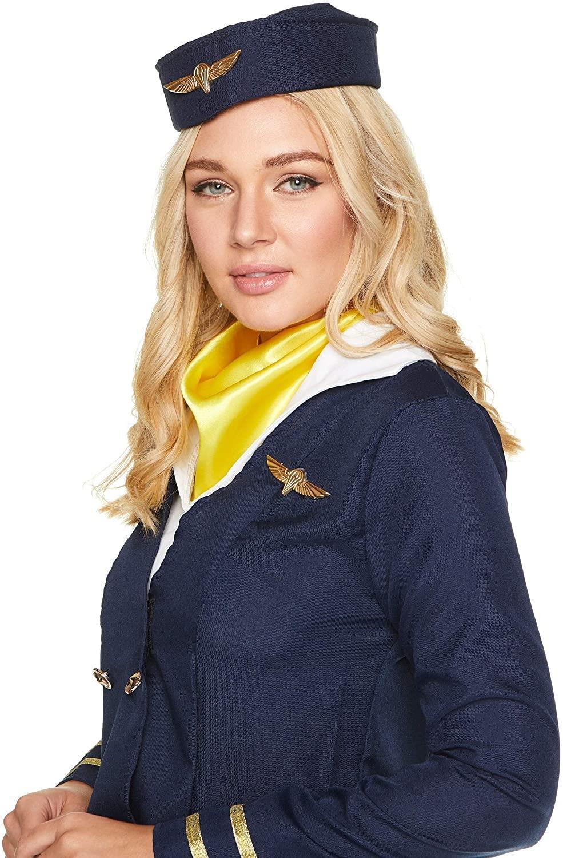 Womens-Flight-Attendant-Costumes-Air-Stewardess-Hostess-Fancy-Dress-Outfit thumbnail 7