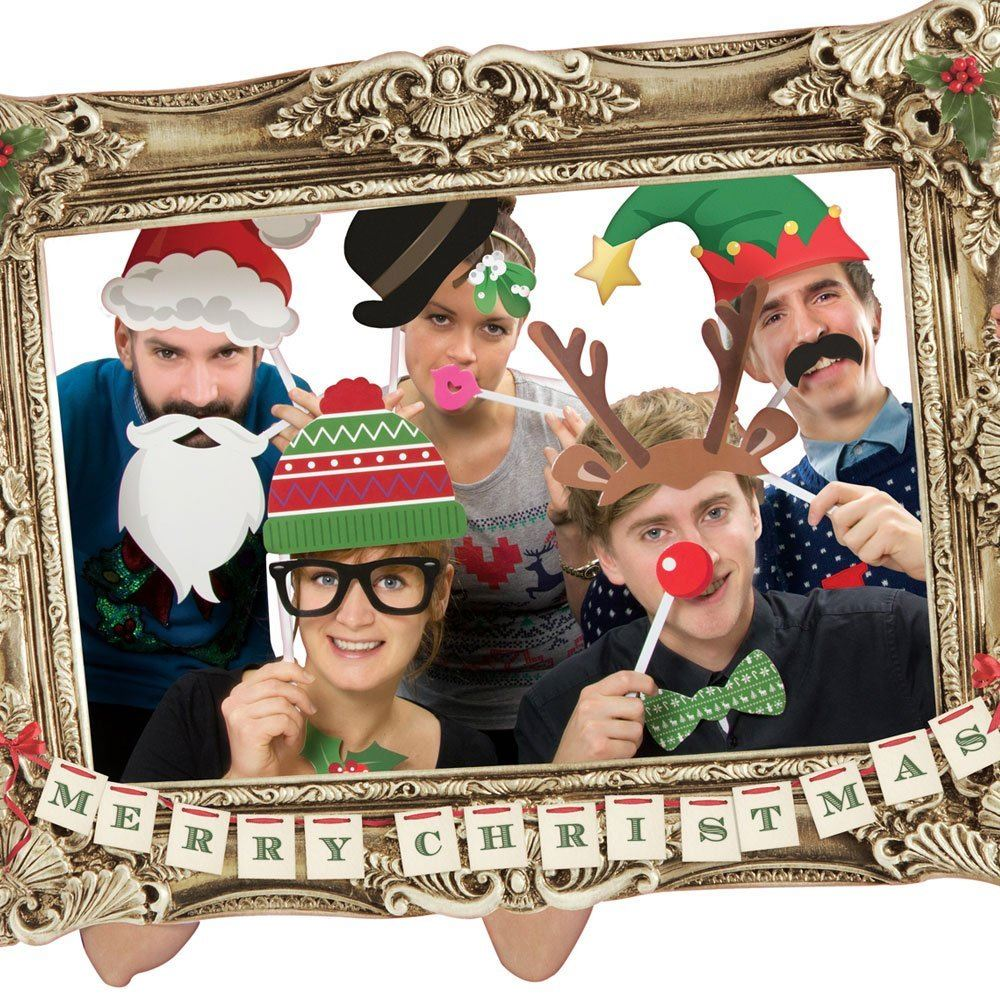 Festive Christmas Photo Booth Large Picture Frame & 22 Props Funny ...