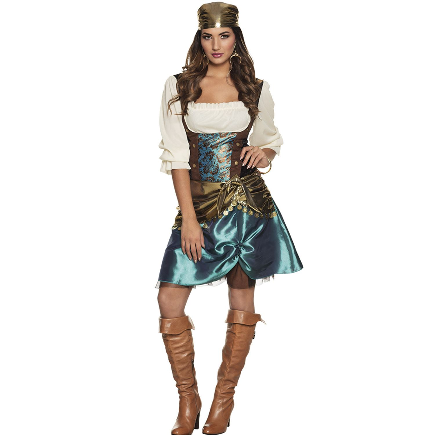 555dc2a0a3 Details about Ladies Romany Gypsy Esmerelda Costume Fortune Teller Fancy  Dress Outfit
