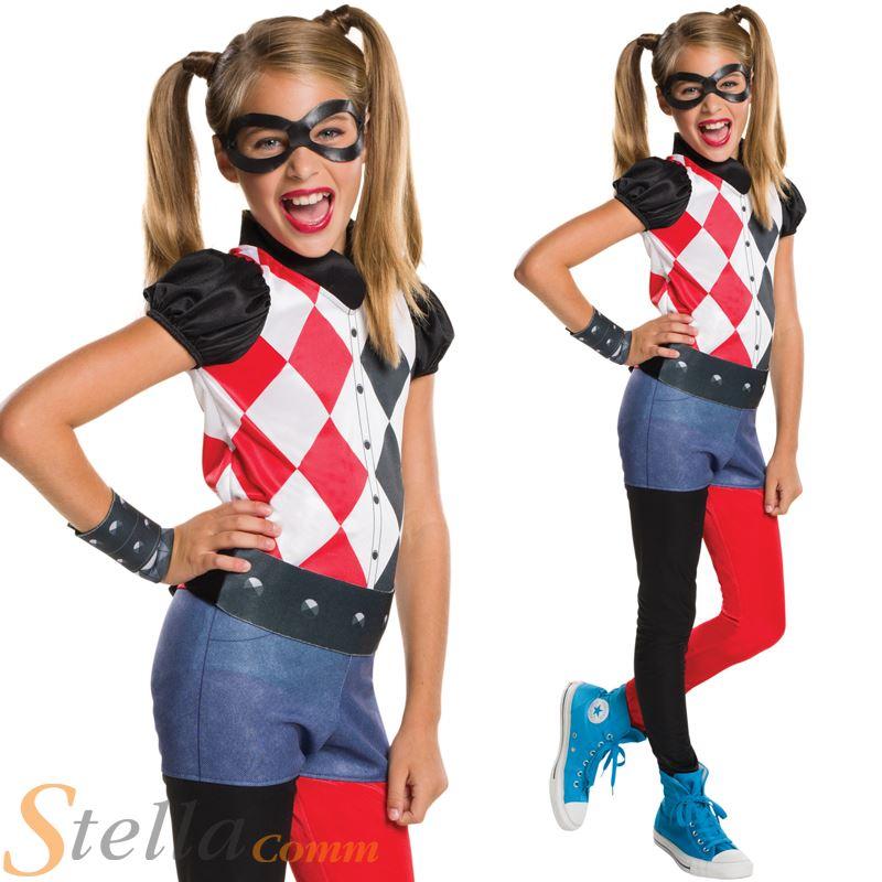 girls harley quinn costume superhero dc comics child fancy dress outfit ebay