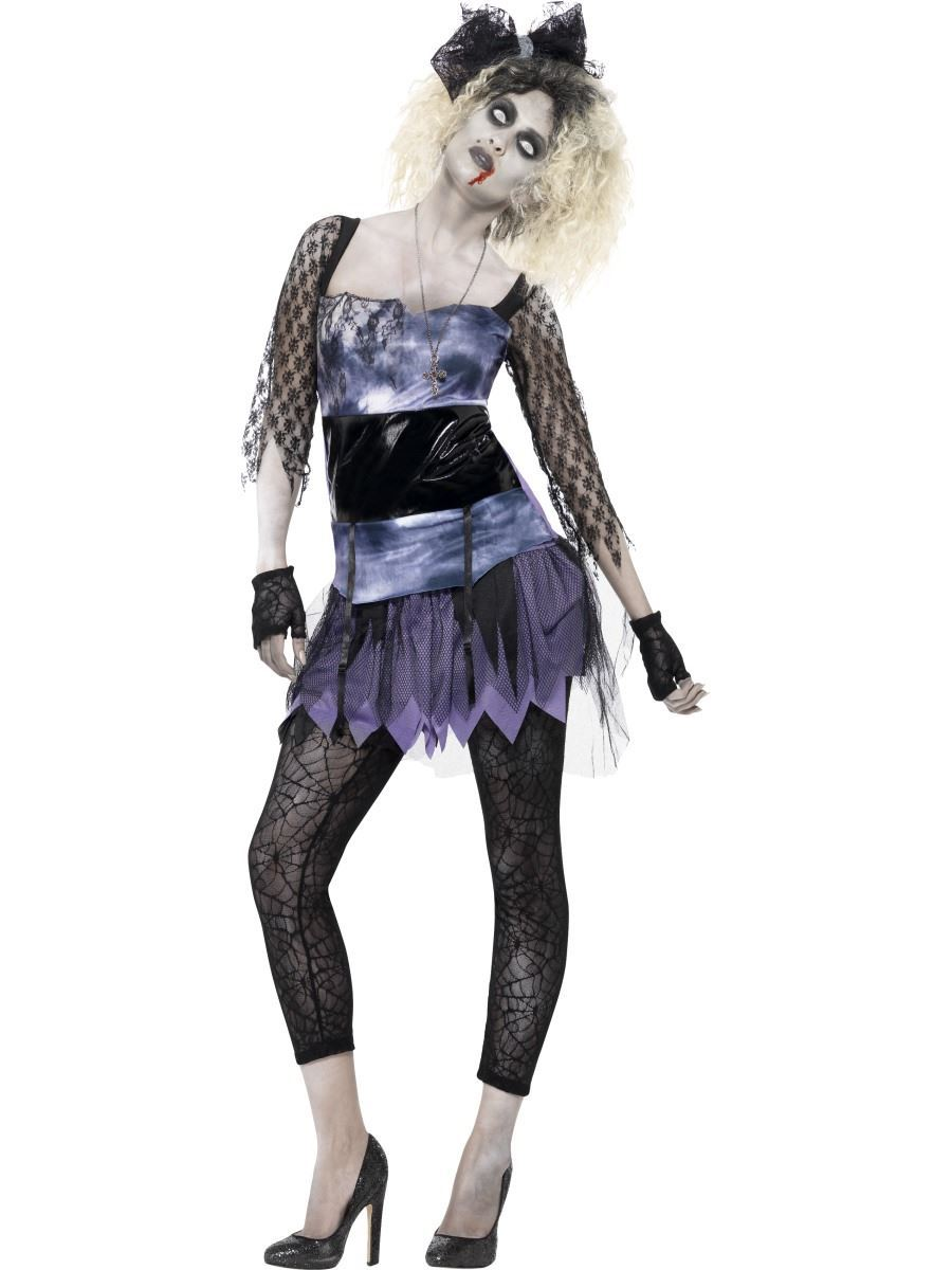 ladies zombie 80s wild child madonna fancy dress costume halloween