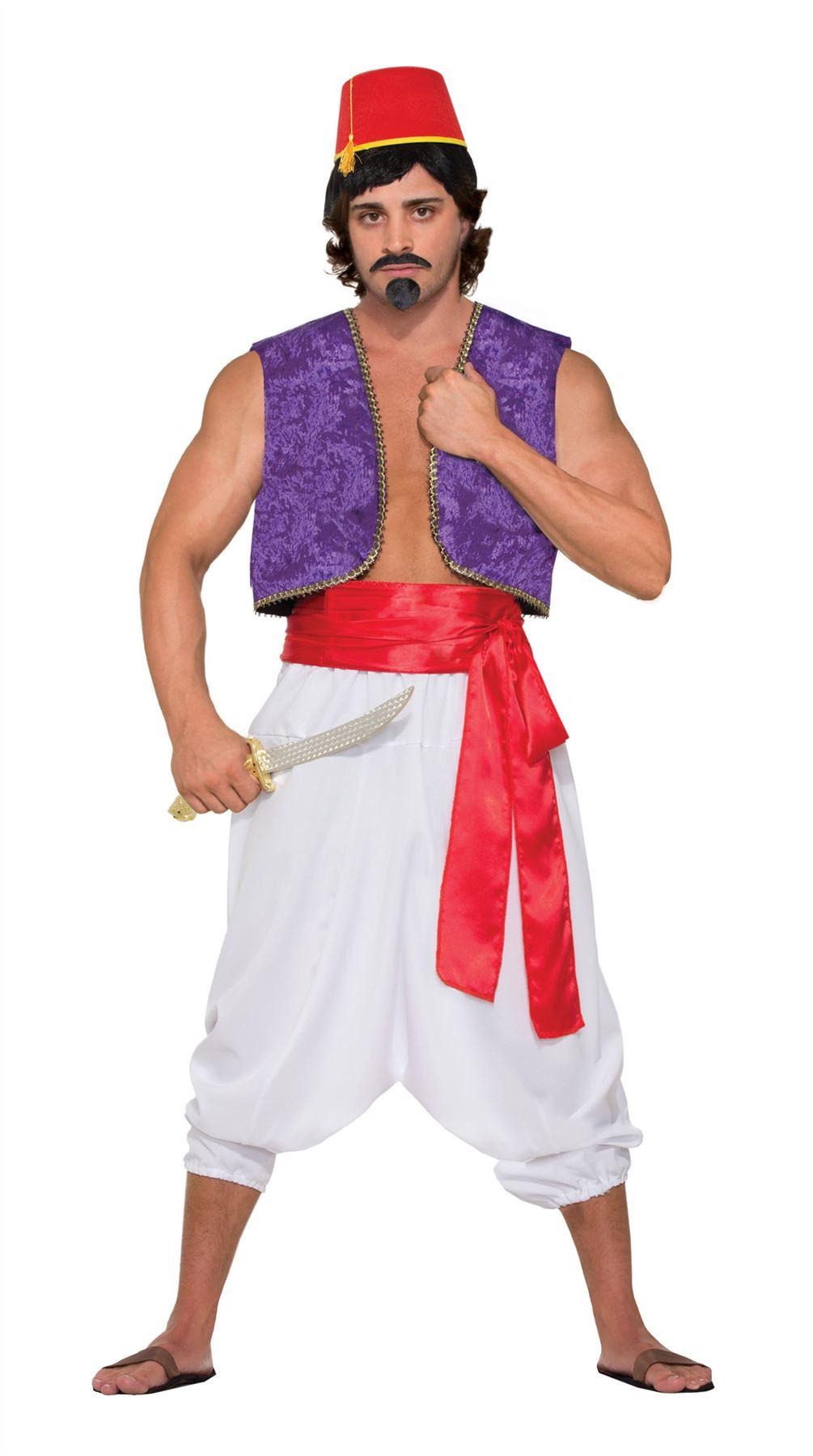 ef8c422af Detalles de Adulto Hombres GENIO Chaleco Aladdin Bollywood Accesorio para  disfraz