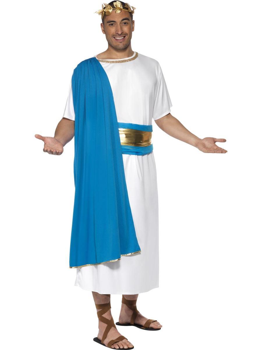 mens roman senator emperor toga caesar greek fancy dress costume