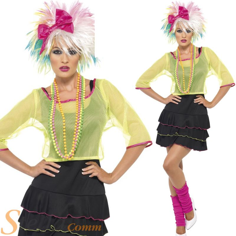 Ladies 80s Pop Star Costume Madonna Fancy Dress Adult Womens Outfit