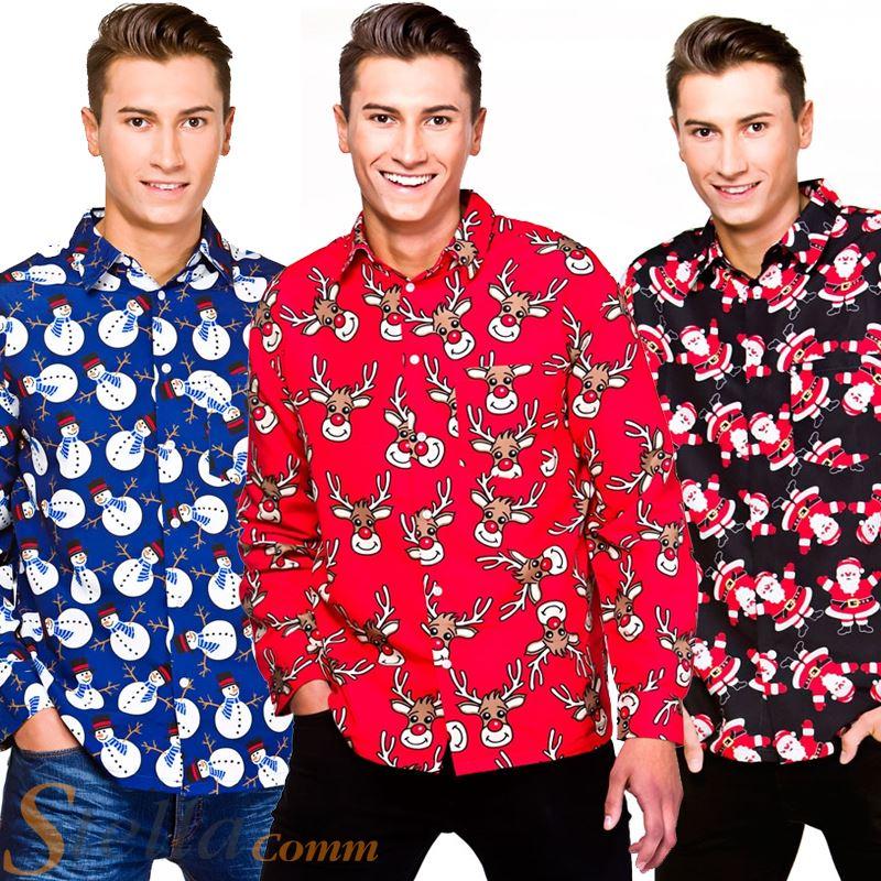 Camisas Disfraz De Navidad Manga Adultos Hombre Para Larga 6x7SEqPaZw