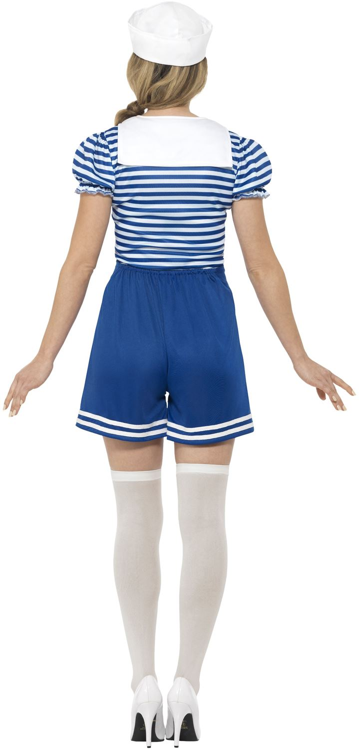 Ladies-Sailor-Girl-Costume-Adult-Navy-Fancy-Dress-Womens-Hen-Party-Outfit thumbnail 3