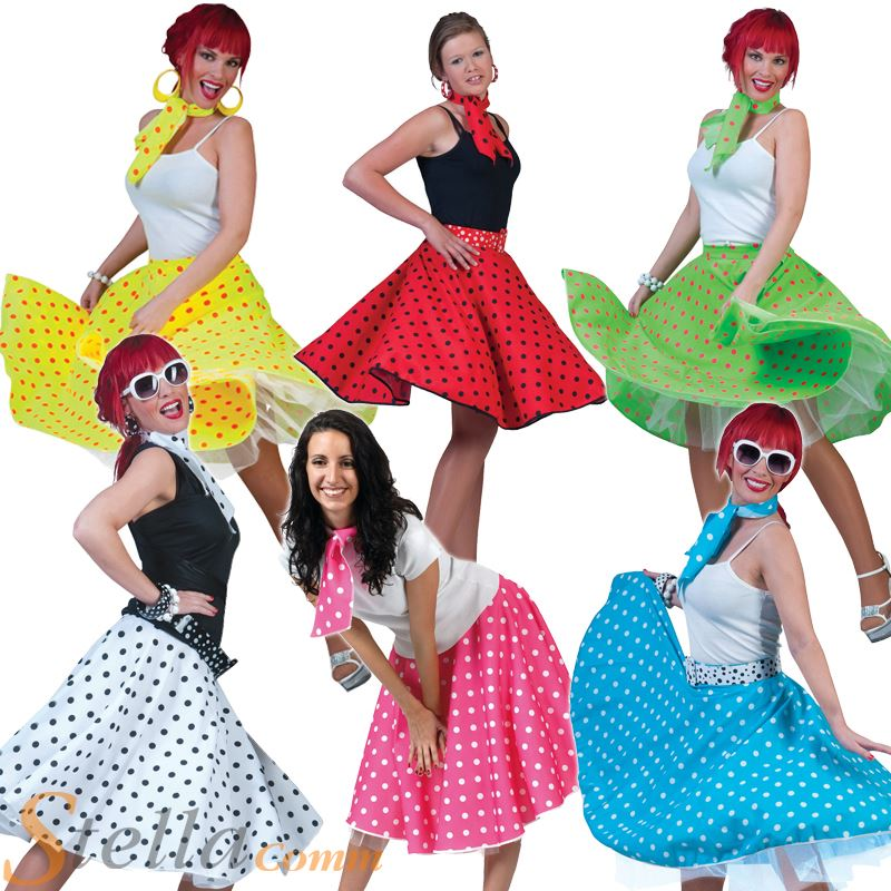 ladies polka dot skirt scarf rock n roll 50s 60s fancy dress