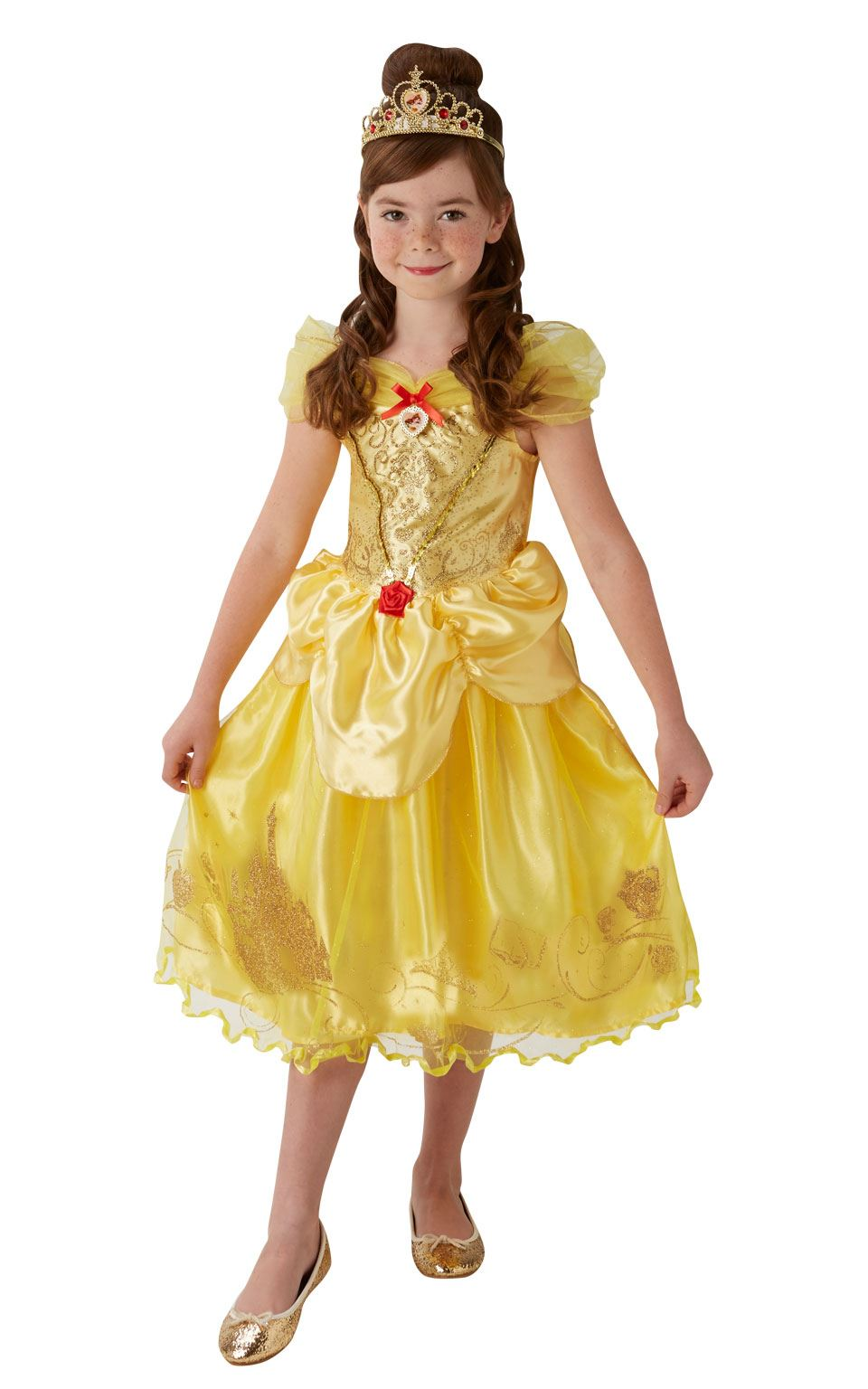 c04606796ce Details about Girls Storyteller Golden Belle Beauty & The Beast Disney  Fancy Dress Costume