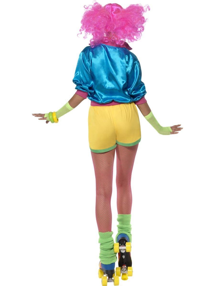 Ladies-Skater-Girl-Costume-Fancy-Dress-70s-80s-  sc 1 st  eBay & Ladies Skater Girl Costume Fancy Dress 70s 80s Neon Roller Disco ...