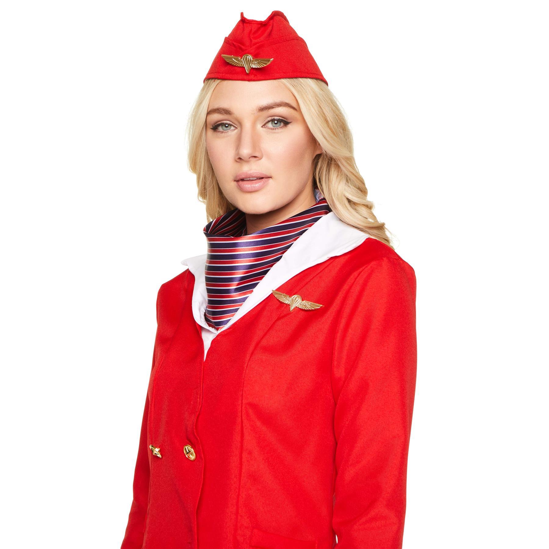 Womens-Flight-Attendant-Costumes-Air-Stewardess-Hostess-Fancy-Dress-Outfit thumbnail 4