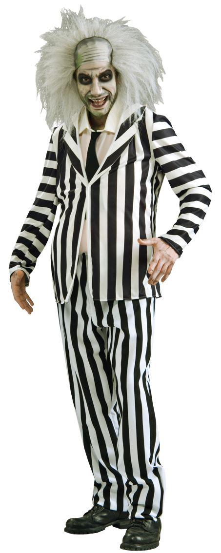 Homme beetlejuice ghost halloween adulte 80s fancy fancy fancy dress costume + perruque + maquillage 9e5761