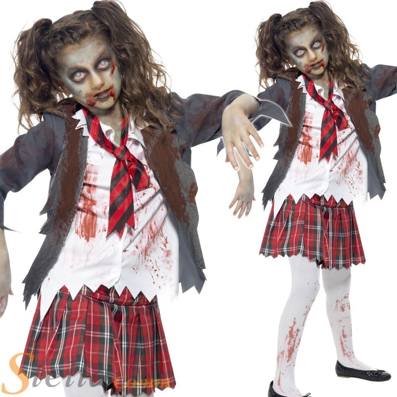 Details about Girls Zombie School Girl Costume Horror Halloween Fancy Dress  Child Outfit d2c8deda9006