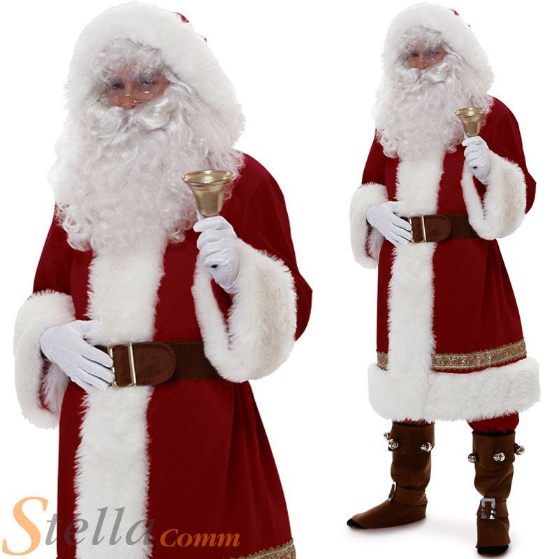 Deluxe Santa Claus Men/'s Velvet Christmas Costume Adult Outfit