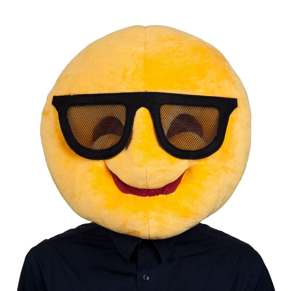 Adults Plush Cool Emoticon Emoji Smiley Face Funny Head Mask ...