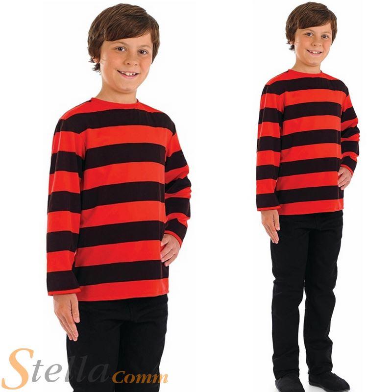 Detalles de Niños Rojo Negro De Rayas Jersey CARNAVAL NIÑOS DIBUJOS ANIMADOS Disfraz