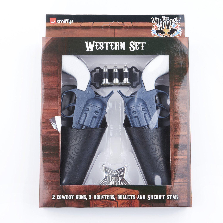Wild West Gun Set Cowboy Adult Unisex Smiffys Fancy Dress Costume Accessory