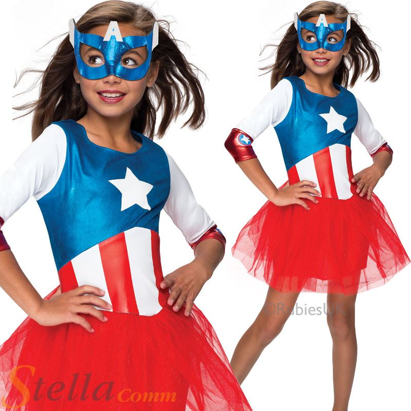 Filles capitaine am rica d guisement costume super h ros - Capitaine americain ...