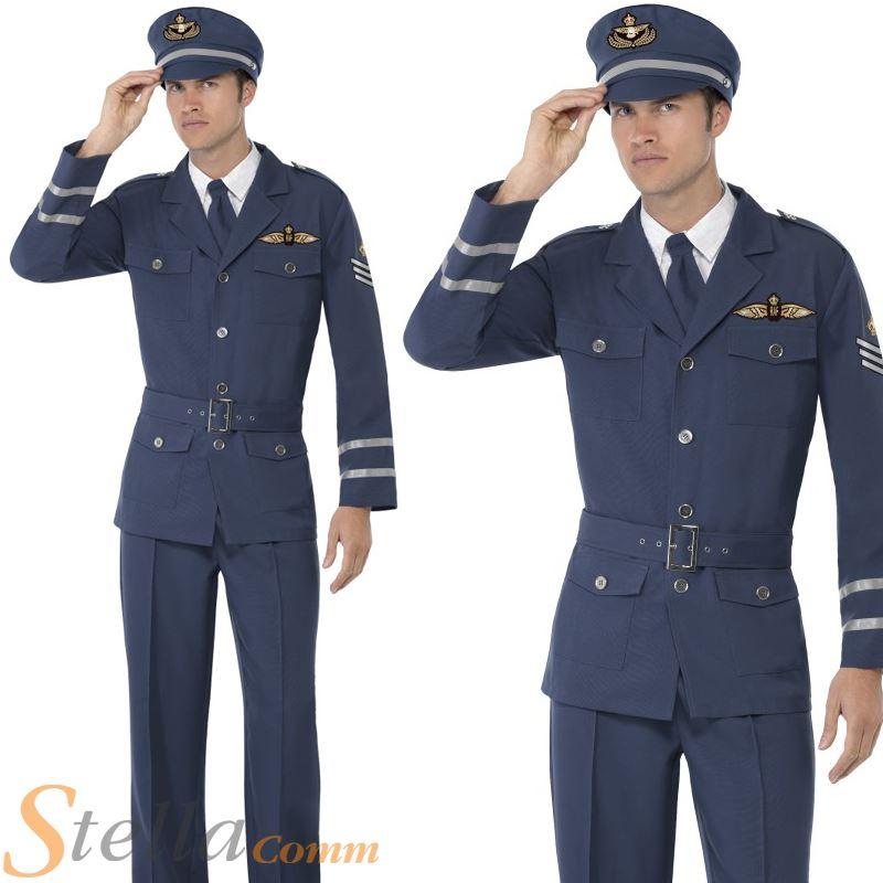Mens Ww2 Air Force Captain Costume Raf Wartime Pilot 40s Fancy Dress