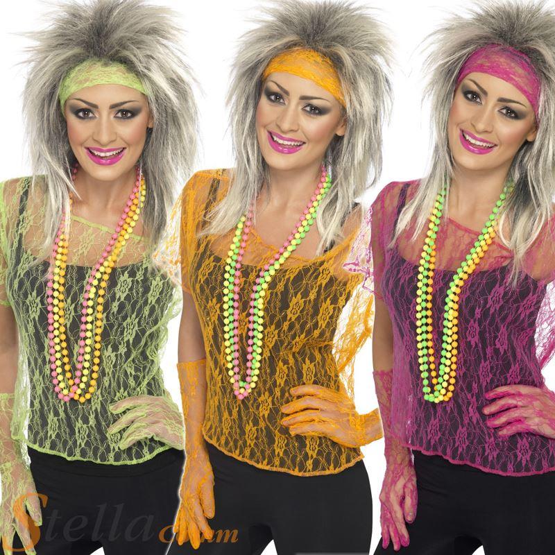 Ladies Neon Lace Net Vests 80s New Romantic Fancy Dress Costume Adult Outfit