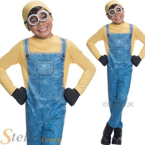Boys Minion Costume Despicable Me Fancy Dress Kids Halloween Child Outfit