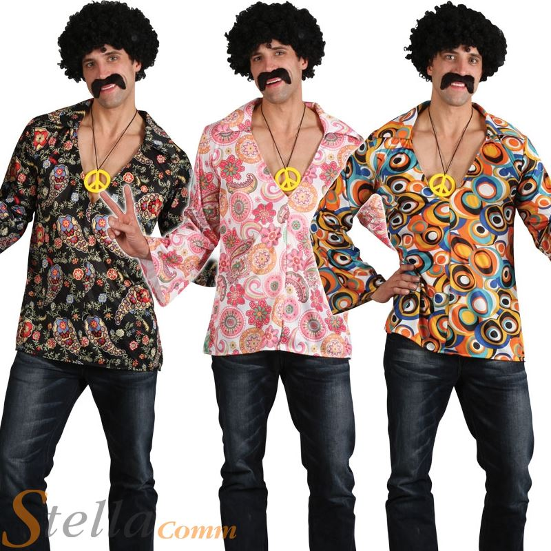 Mens Hippy Hippie 60s 70s Groovy Adult Fancy Dress Costume Shirt