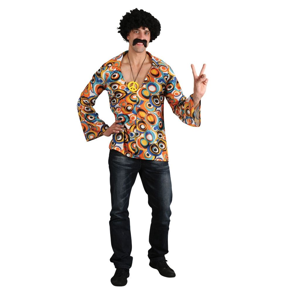 60/'s 70/'s Psychedelic CND Shirt Adult Mens LARGE Retro Disco Hippie Fancy Dress