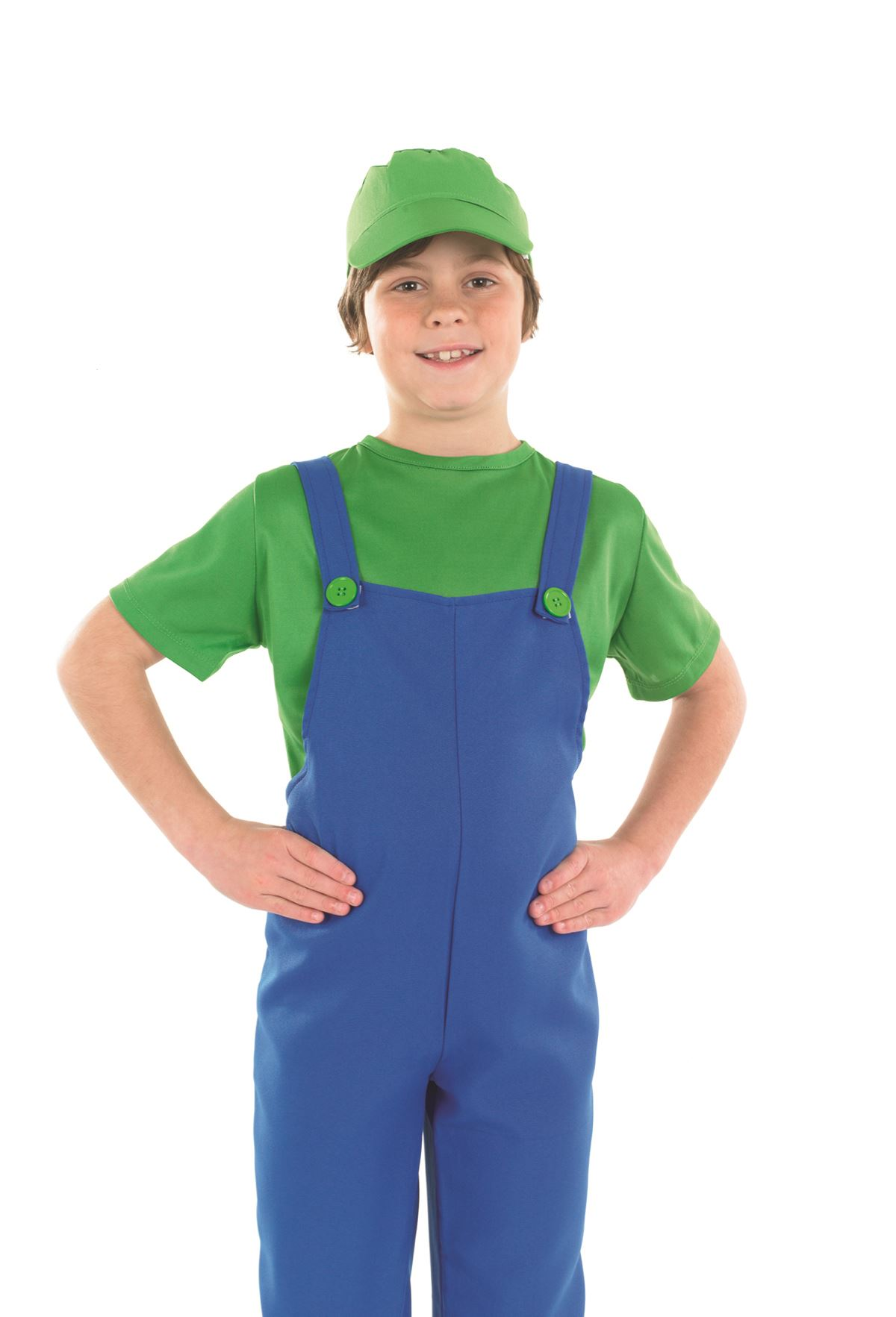 Boys-Plumber-Costume-Super-Mario-Bros-Luigi-80s-  sc 1 st  eBay & Boys Plumber Costume Super Mario Bros Luigi 80s 90s Fancy Dress ...