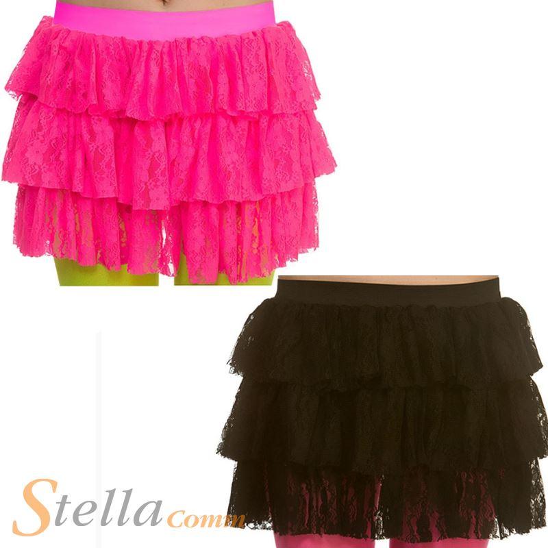 MUJER AÑOS 80 CON ENCAJE ra-ra faldas Disco Accesorio para disfraz ...