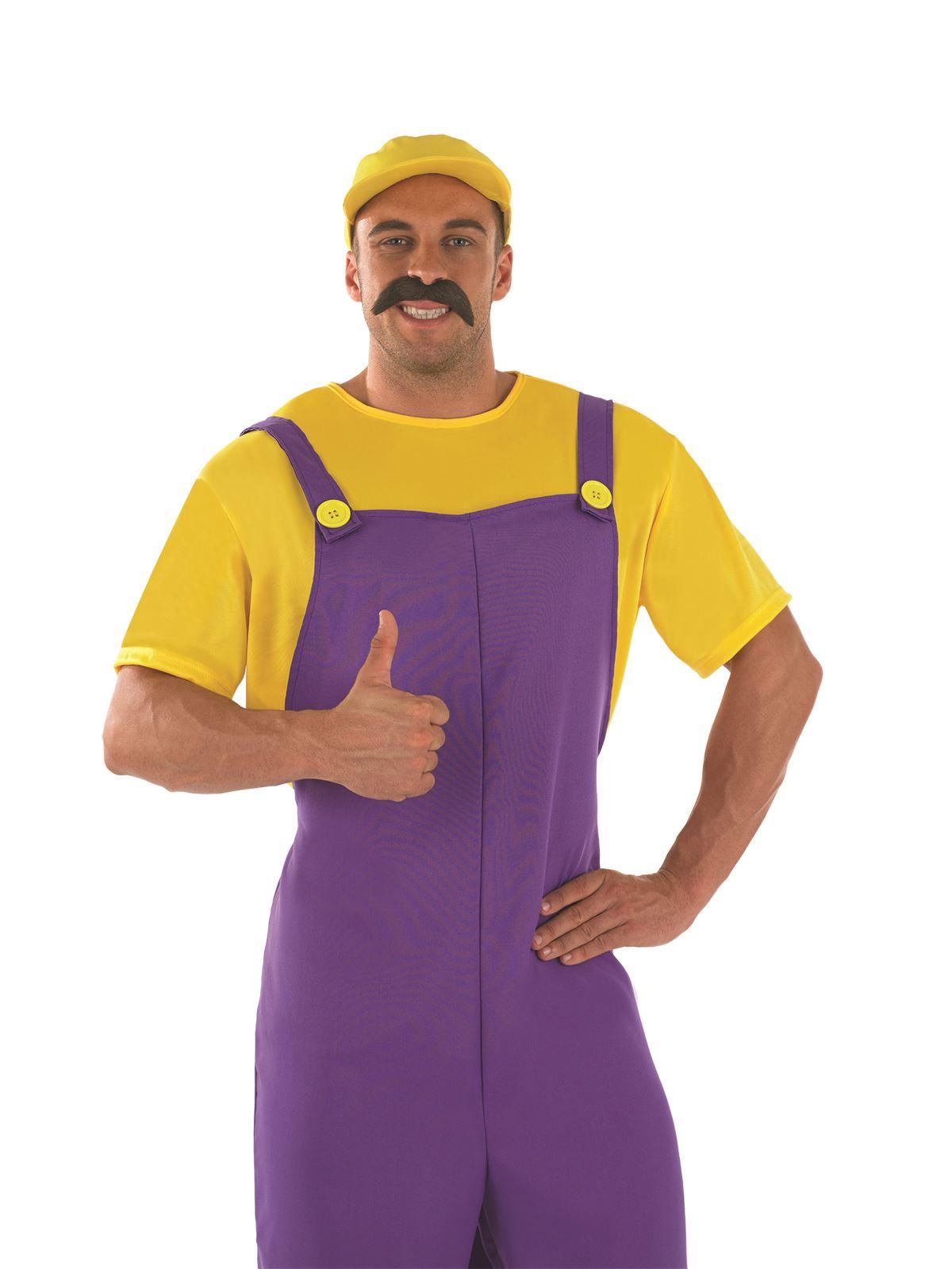 Mens-Yellow-Plumbers-Mate-80s-Wario-Super-Mario-  sc 1 st  eBay & Mens Yellow Plumbers Mate 80s Wario Super Mario Fancy Dress Costume ...