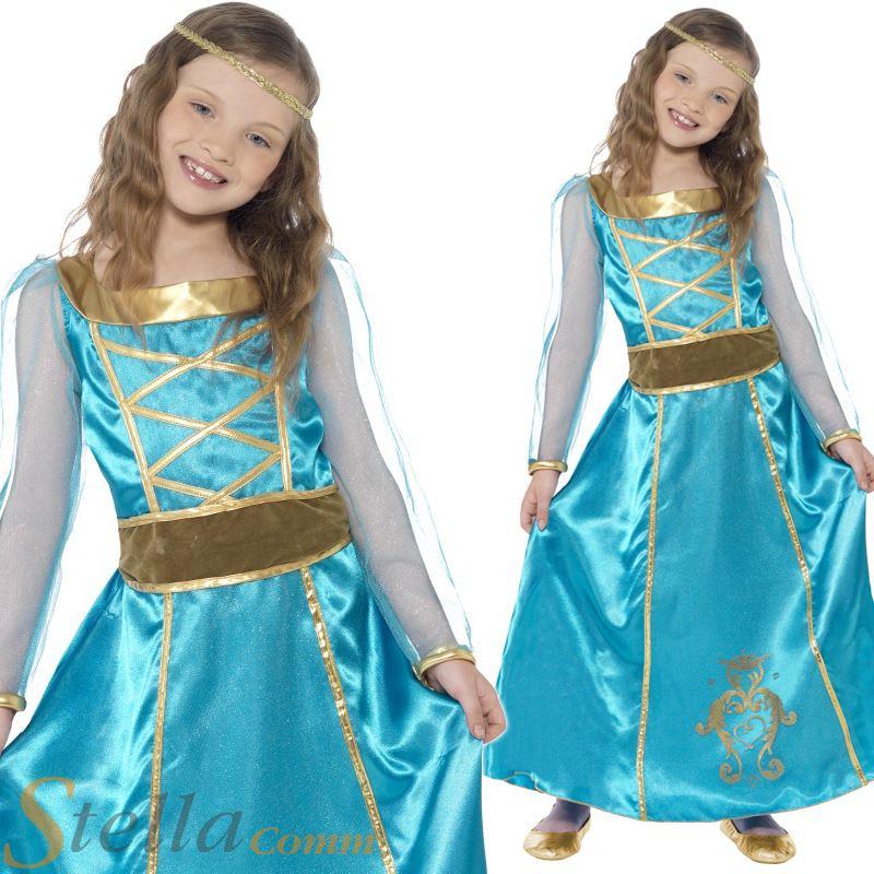 Girls Medieval Princess Costume Dress Maid Marion Tudor Queen Book ...