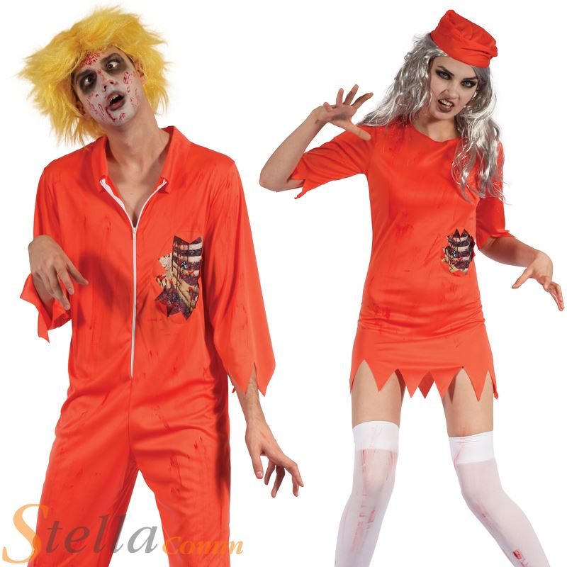 Adult Zombie Prisoner Costumes Mens Ladies Halloween Undead Fancy Dress Outfit  sc 1 st  eBay : halloween prisoner costumes  - Germanpascual.Com