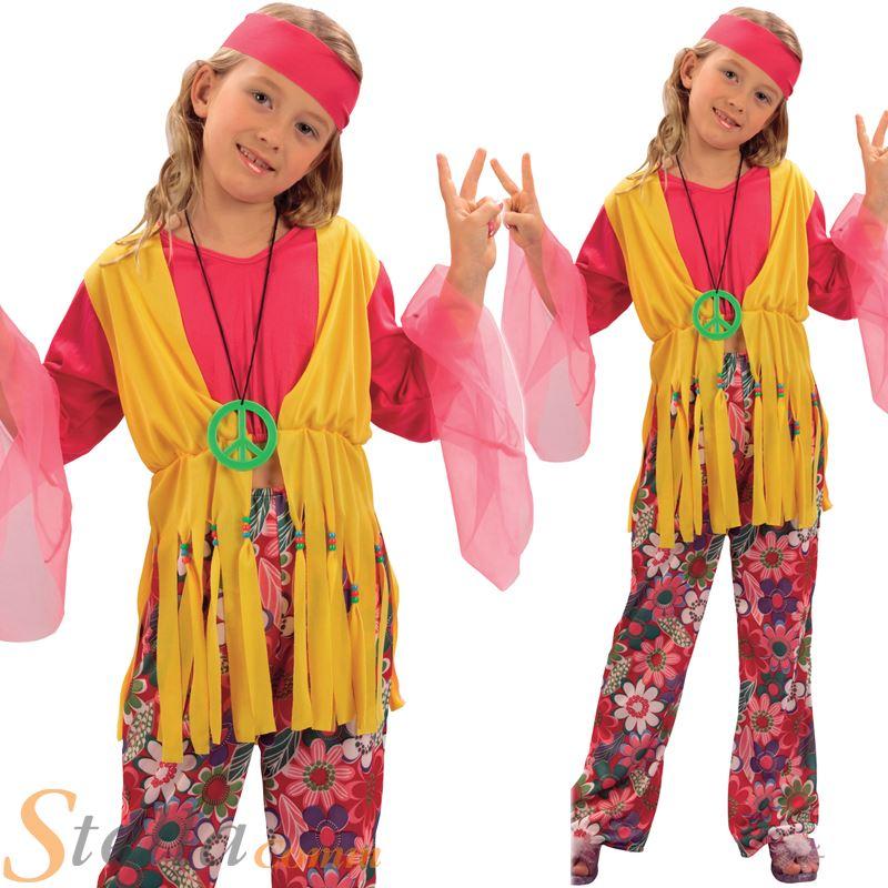 Girls Hippy Girl Costume 60s 70s Flower Power Hippie Fancy Dress Child Outfit  sc 1 st  eBay & Girls Hippy Girl Costume 60s 70s Flower Power Hippie Fancy Dress ...
