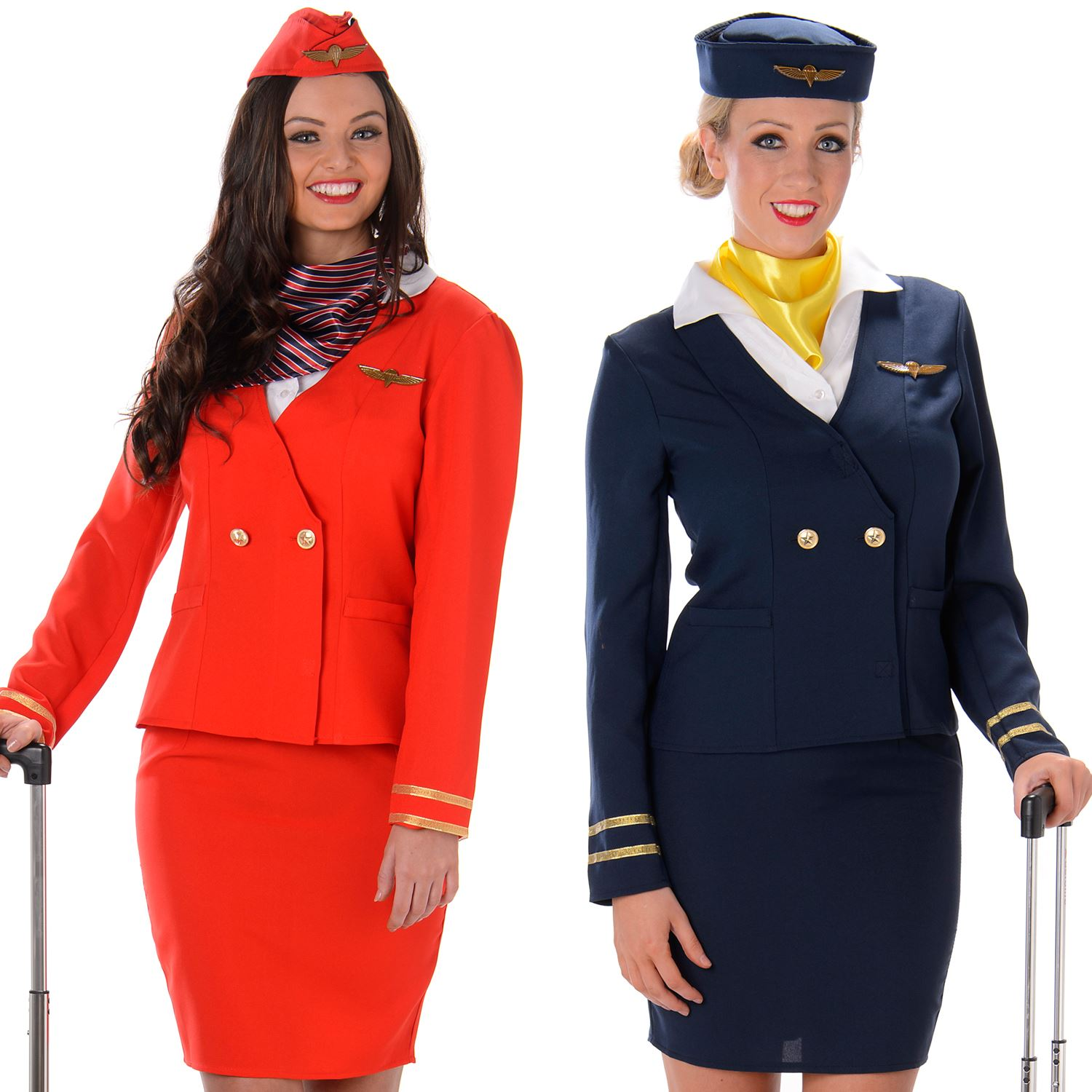 Womens Flight Attendant Costumes Air Stewardess Hostess Womens Fancy
