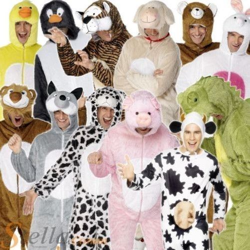 Adult Animal Zoo Jungle All in One Hooded Fancy Dress Costume Book Week New