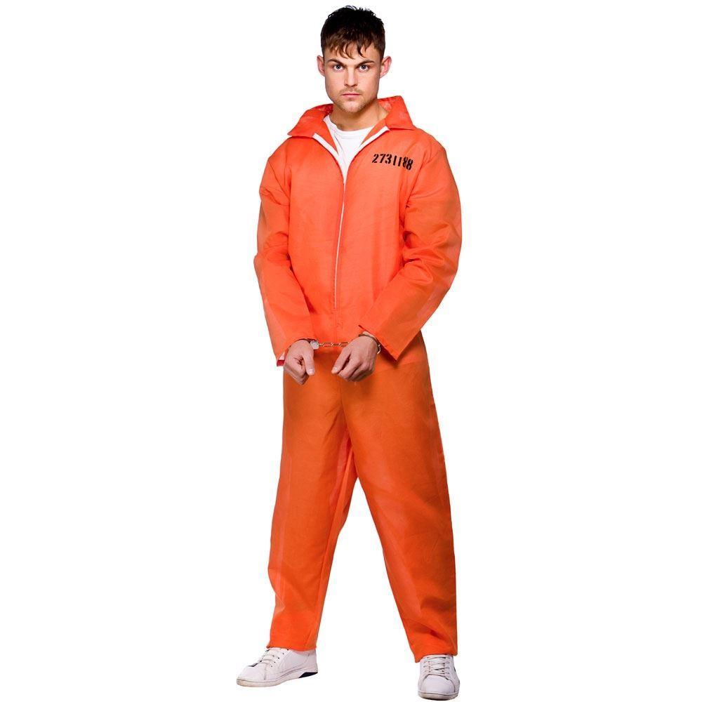 hombre-naranja-Preso-Traje-de-caldera-Disfraz-Cadena-Gang-Prisionero-Mono