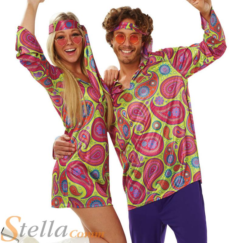 Mens Ladies 60s 70s Hippy Hippie Disco Outfit Fancy Dress Costume