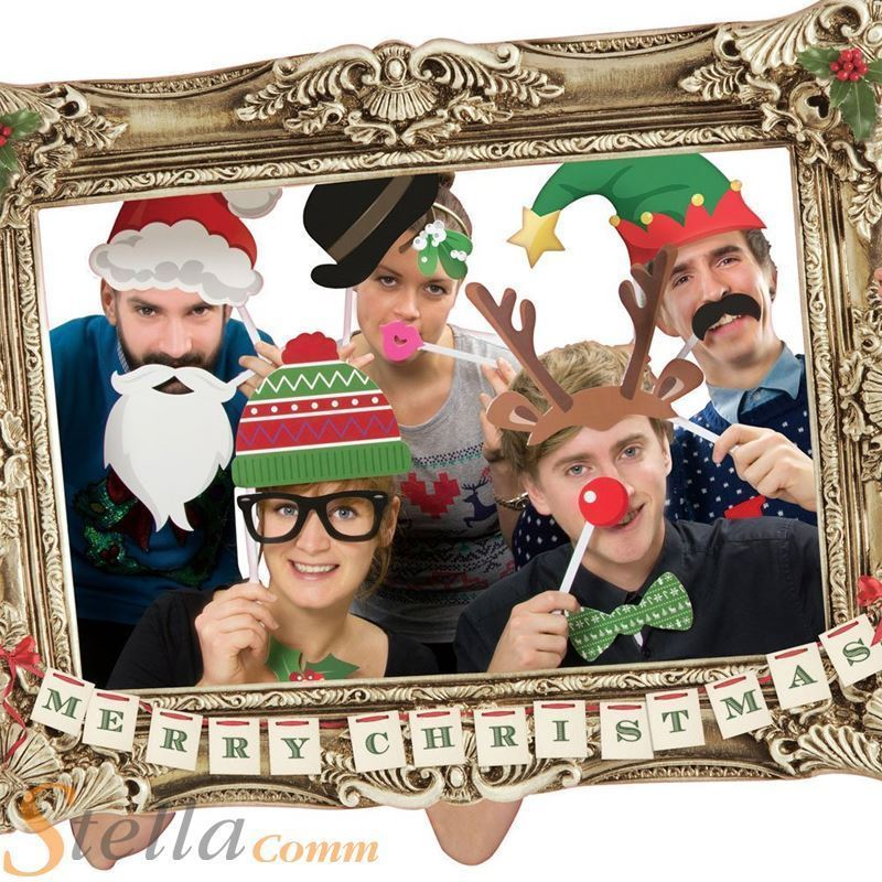 Festive Christmas Photo Booth Large Picture Frame 22 Props Funny