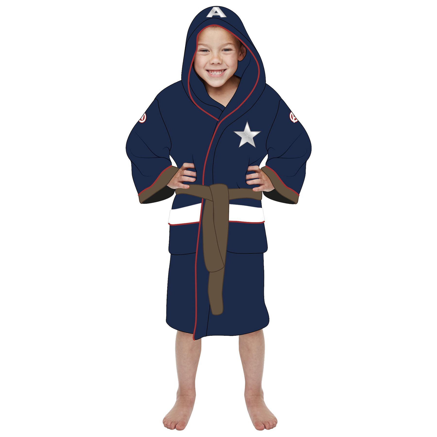 Details about Kids Captain America Bathrobe Marvel Fleece Dressing Gown 5b09a2490