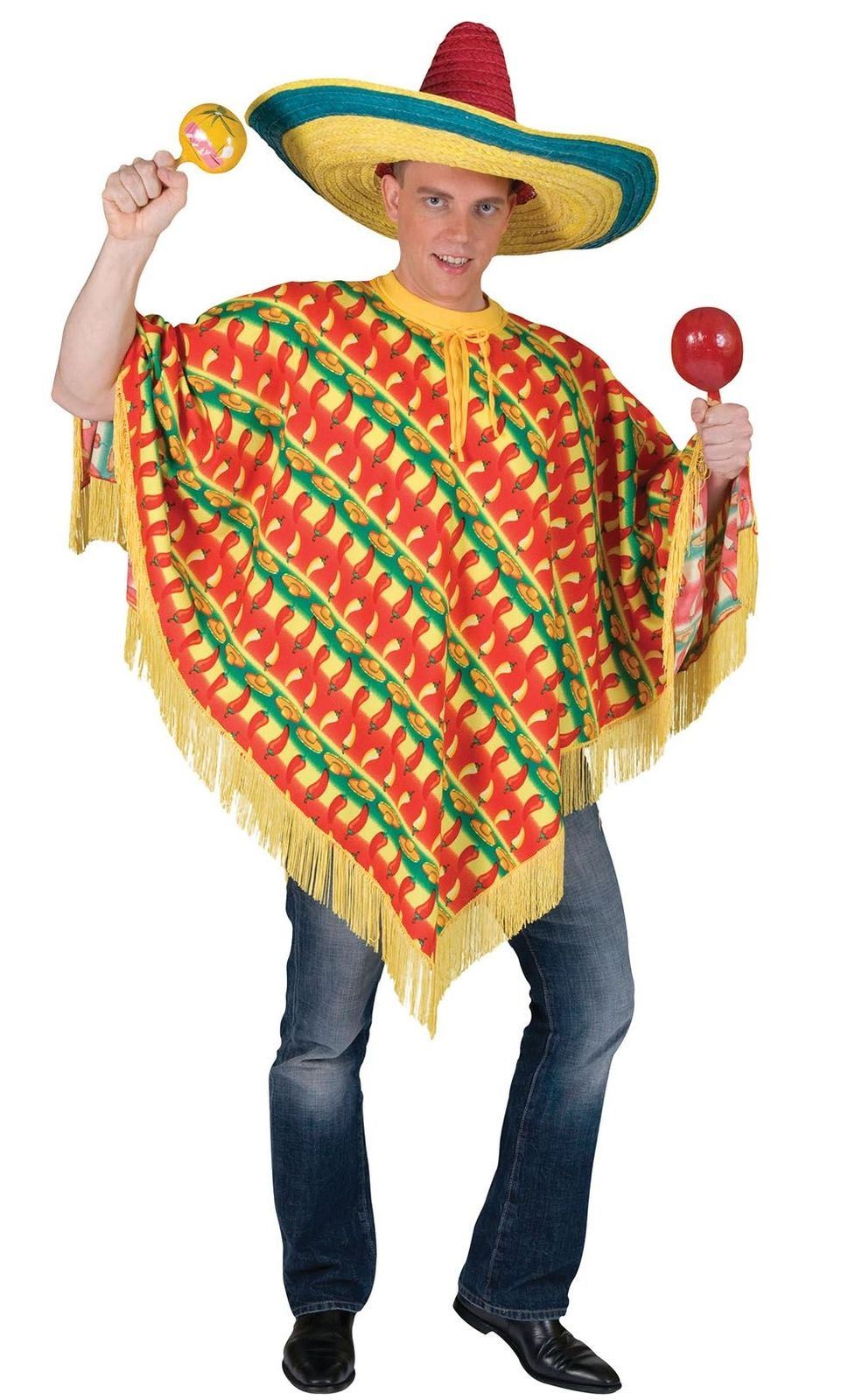 f05d38ecfd2f Details about Mens Chilli Poncho Sombrero Print Mexican Fancy Dress Costume  Adult Outfit