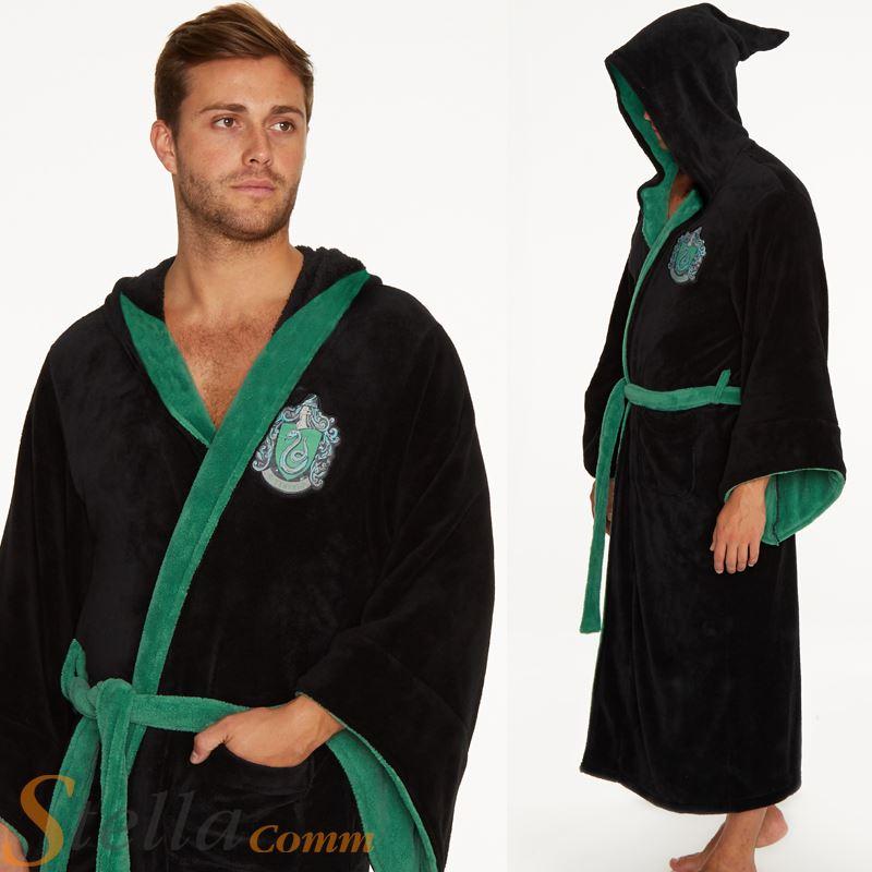 Adult Harry Potter Slytherin Bathrobe Soft Fleece Hooded Official ...