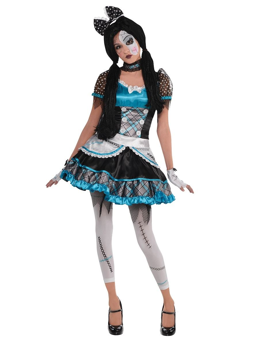 girls teen shattered broken doll costume halloween fancy