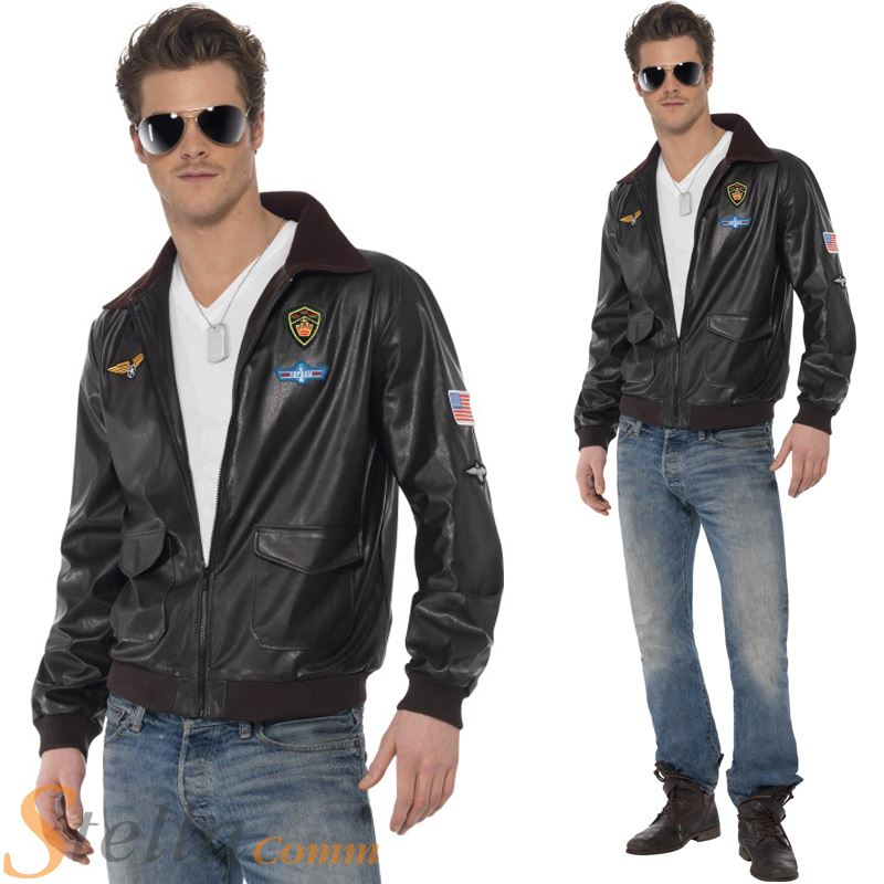 Smiffy S Men S Top Gun Bomber Jacket Fancy Dress Costume 39447 Ebay