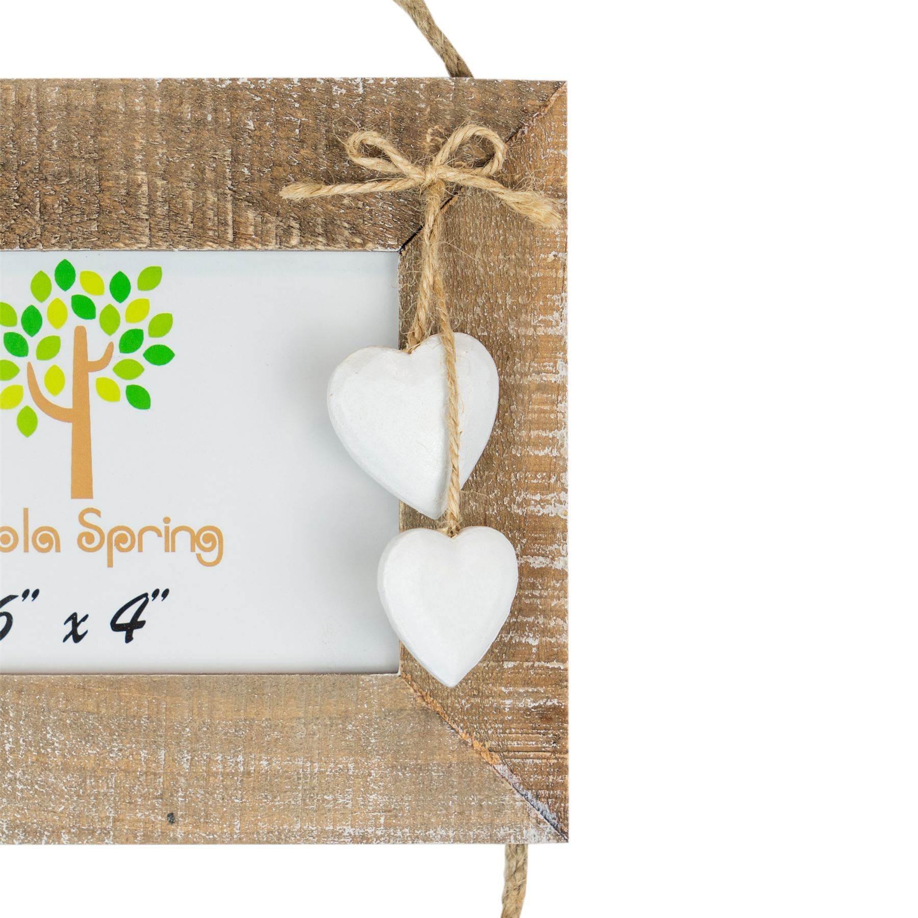 Wooden Shabby Chic Driftwood Triple Hanging White Hearts ...
