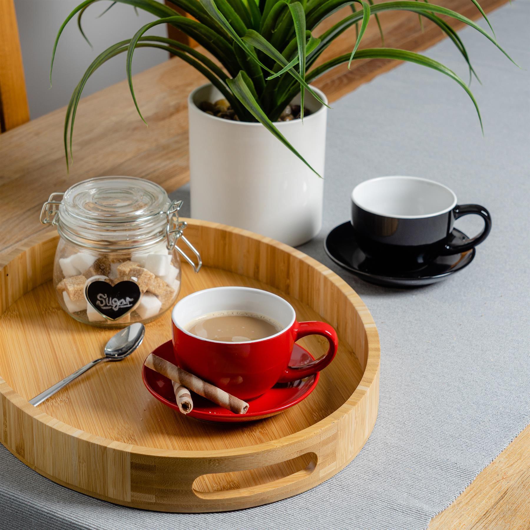 12pc Coloured Cappuccino Cup Saucer Set Porcelain Tea ...