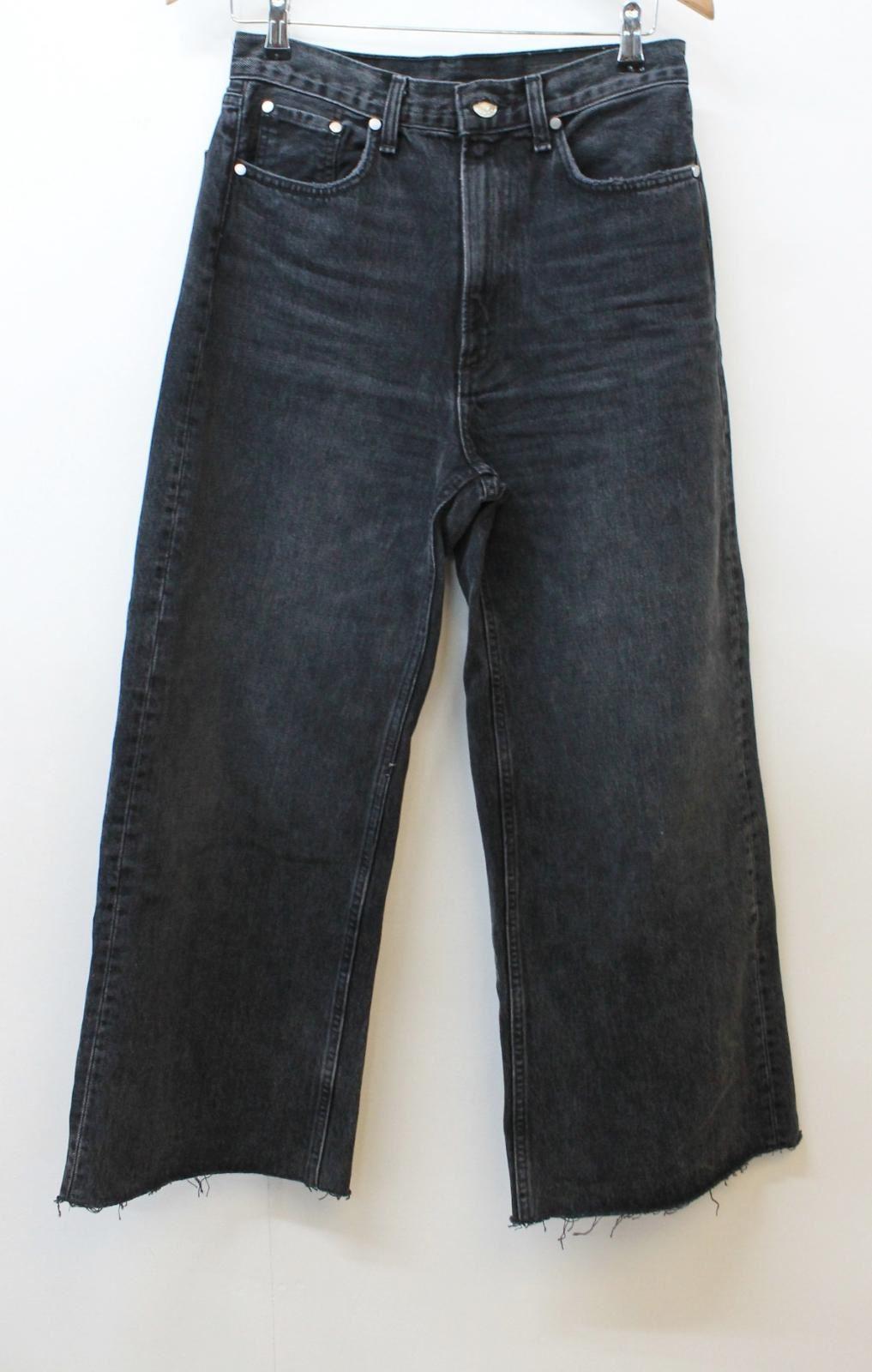 RAG & BONE NEW YORK Ladies Dark Grey Cotton Wide Leg Loose Jeans W27 L27