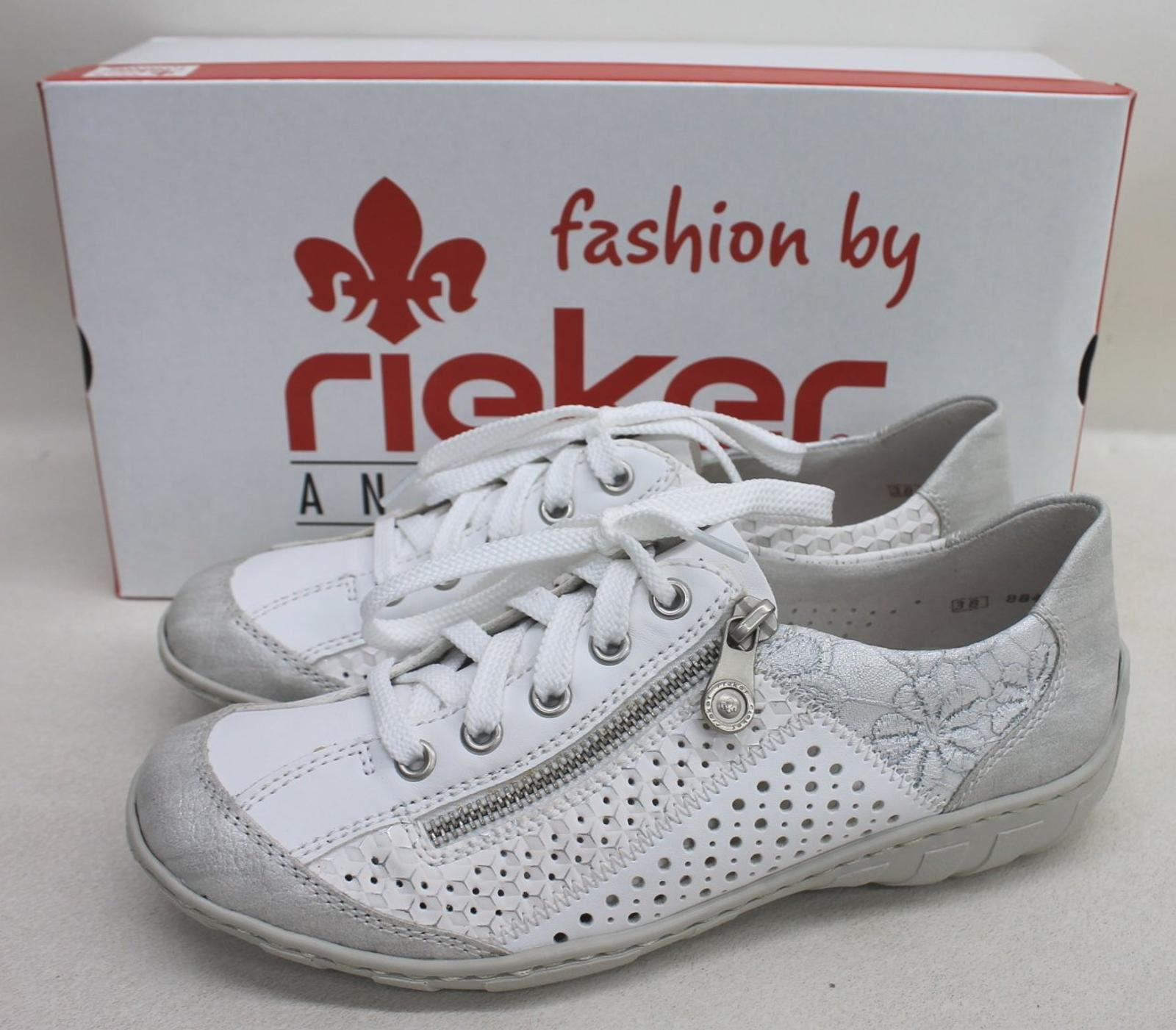 RIEKER LADIES WHITE Combination Zip Lace Casual Shoe Low Trainers UK5 EU38 BNIB